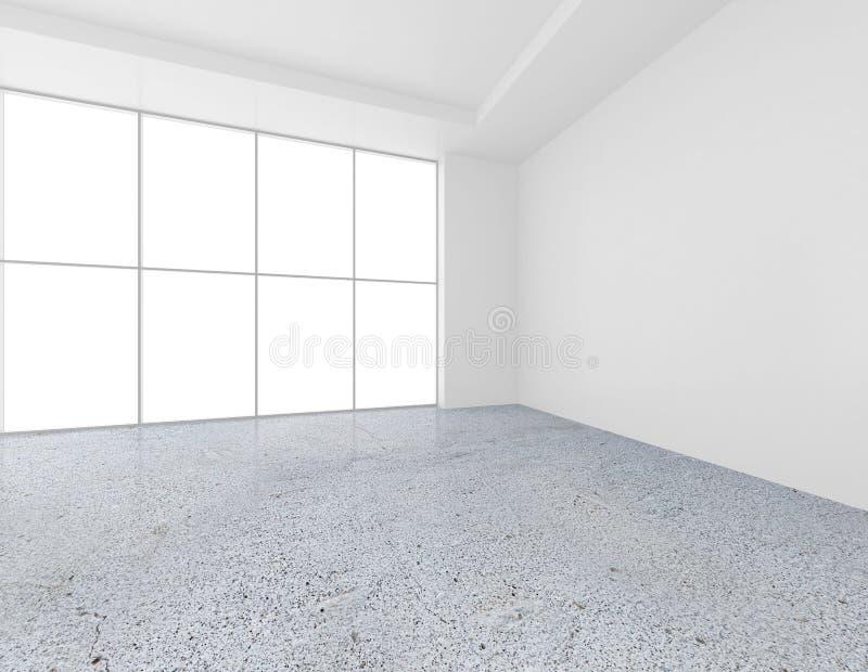 Pared blanca con las ventanas grandes y el piso concreto representación 3d foto de archivo libre de regalías