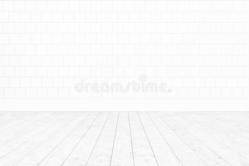 Pared blanca de la teja del sitio en blanco, fondo interior mínimo del piso de madera blanco para el diseño, representación 3D fotografía de archivo libre de regalías