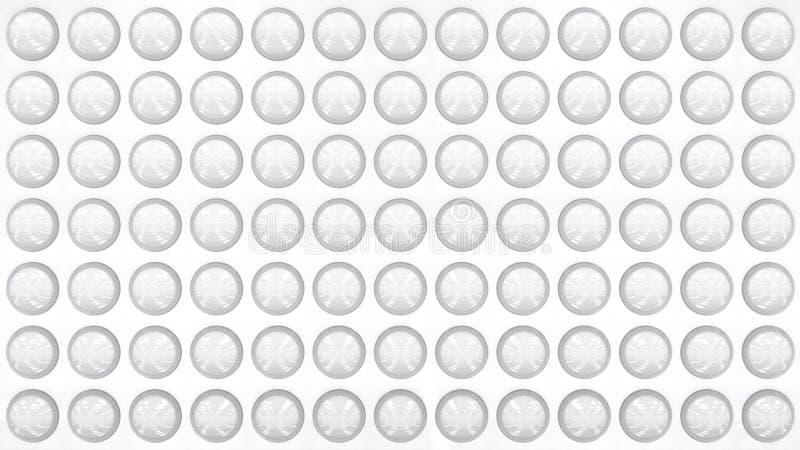 Pared blanca del estilo moderno adornada con los objetos redondos de cristal transparentes 3D rindió el modelo libre illustration