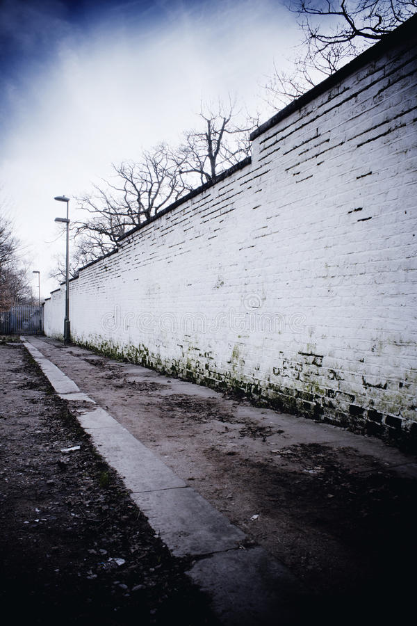 Pared blanca en la trayectoria foto de archivo