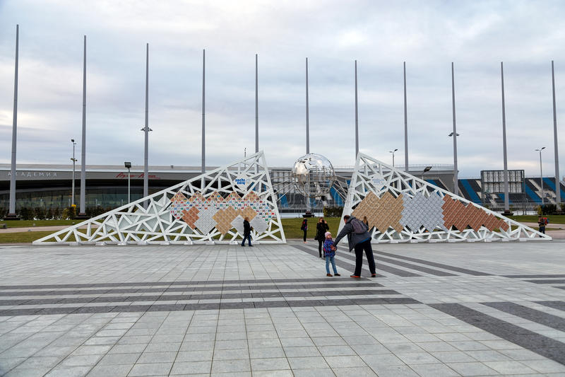 Pared campeones olímpicos y de Paralympic en Sochi Rusia fotos de archivo