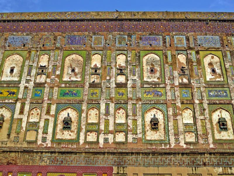 pared colorida del fuerte de Lahore, Lahore, Paquistán fotografía de archivo libre de regalías