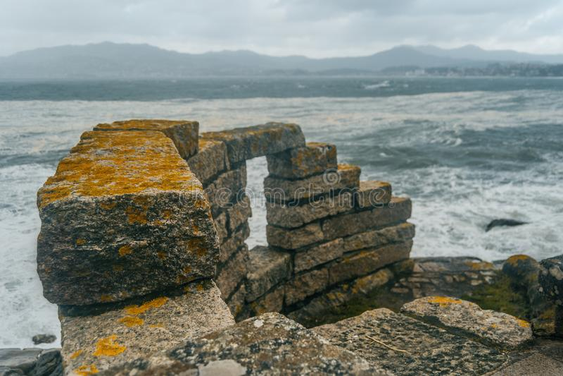 Pared de Baiona, Galicia España imágenes de archivo libres de regalías