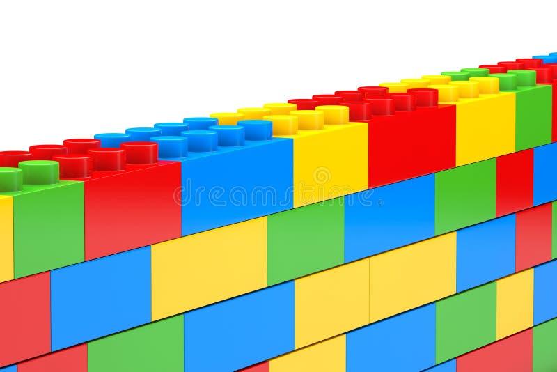 Pared de bloques plásticos de los niños foto de archivo
