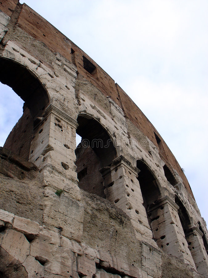 Pared de Colosseum, Roma Italia foto de archivo