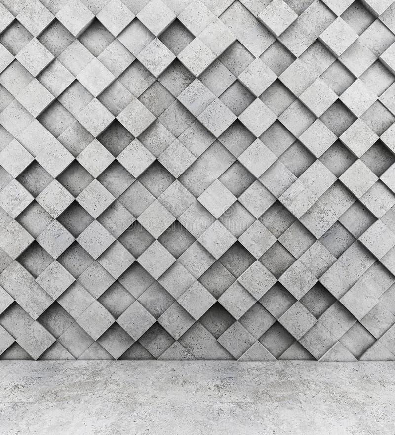 Pared de cubos concretos y del piso concreto libre illustration