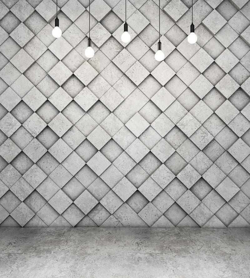 Pared de cubos concretos y del piso concreto con las bombillas stock de ilustración