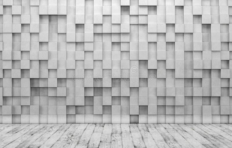 Pared de cubos concretos y del piso de madera ilustración del vector