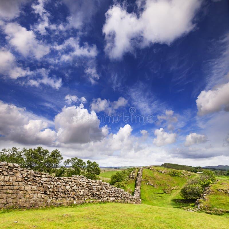 Pared de Hadrians en los riscos de Walltown imagen de archivo