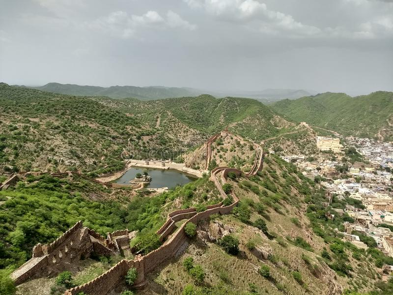Pared de Jaipur, la India imagenes de archivo