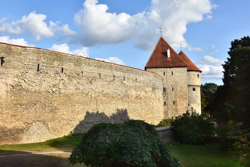 Pared de la ciudad en la ciudad vieja de Tallinn imagen de archivo libre de regalías
