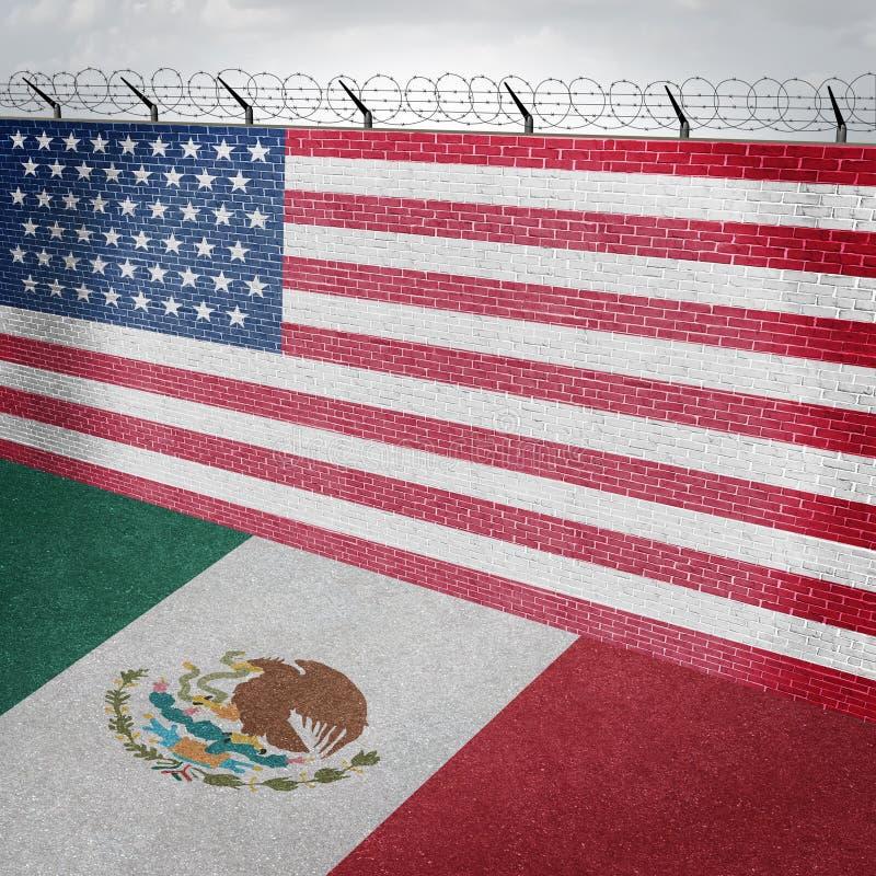 Pared de la frontera de México Estados Unidos stock de ilustración