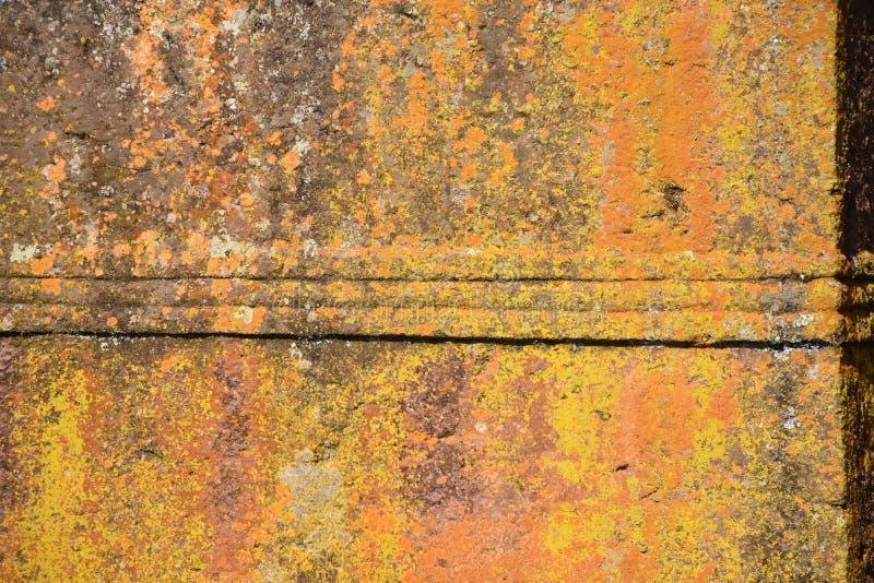 Pared de la iglesia cubierta en liquen amarillo fotografía de archivo libre de regalías