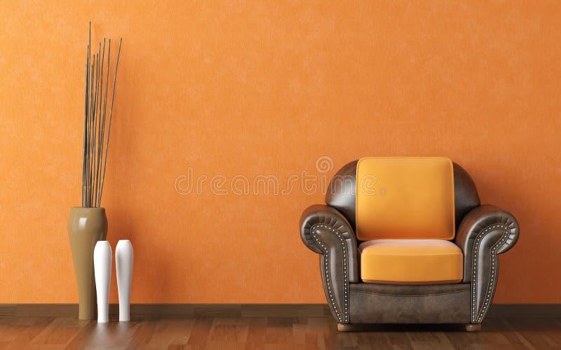 Pared de la naranja del diseño interior imagen de archivo libre de regalías