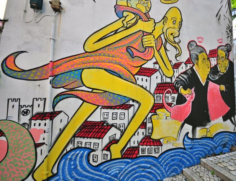 Pared de la pintada en Lisboa, Portugal imagen de archivo