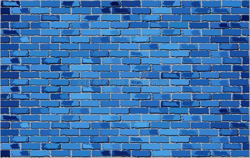 Pared de ladrillo azul stock de ilustración