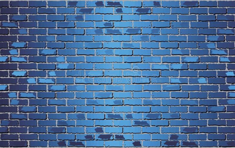Pared de ladrillo azul brillante - ejemplo ilustración del vector