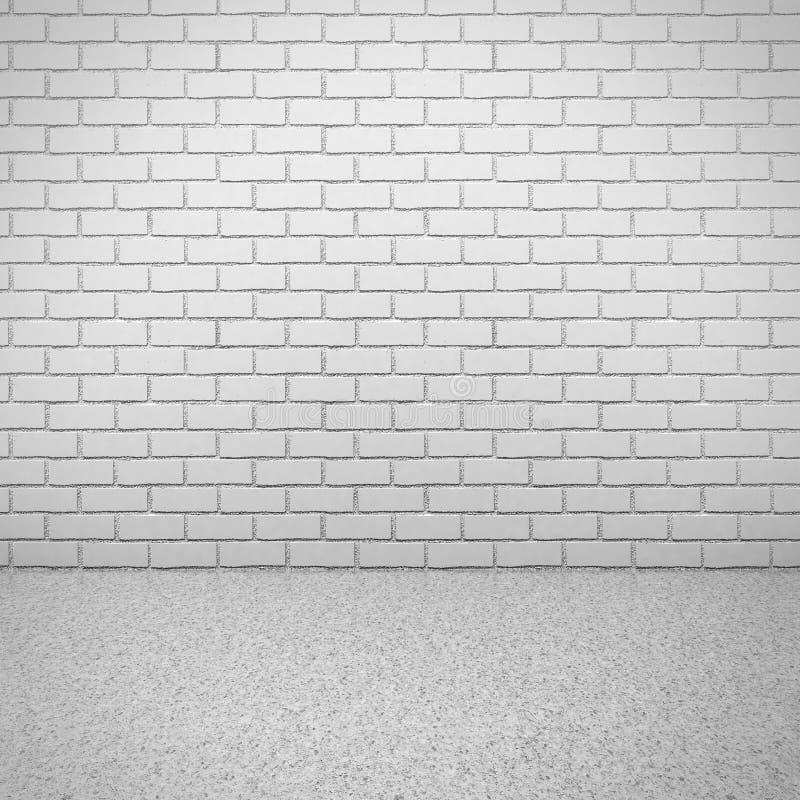 Pared de ladrillo blanca con el piso concreto Interior vacío del sitio imagen de archivo libre de regalías