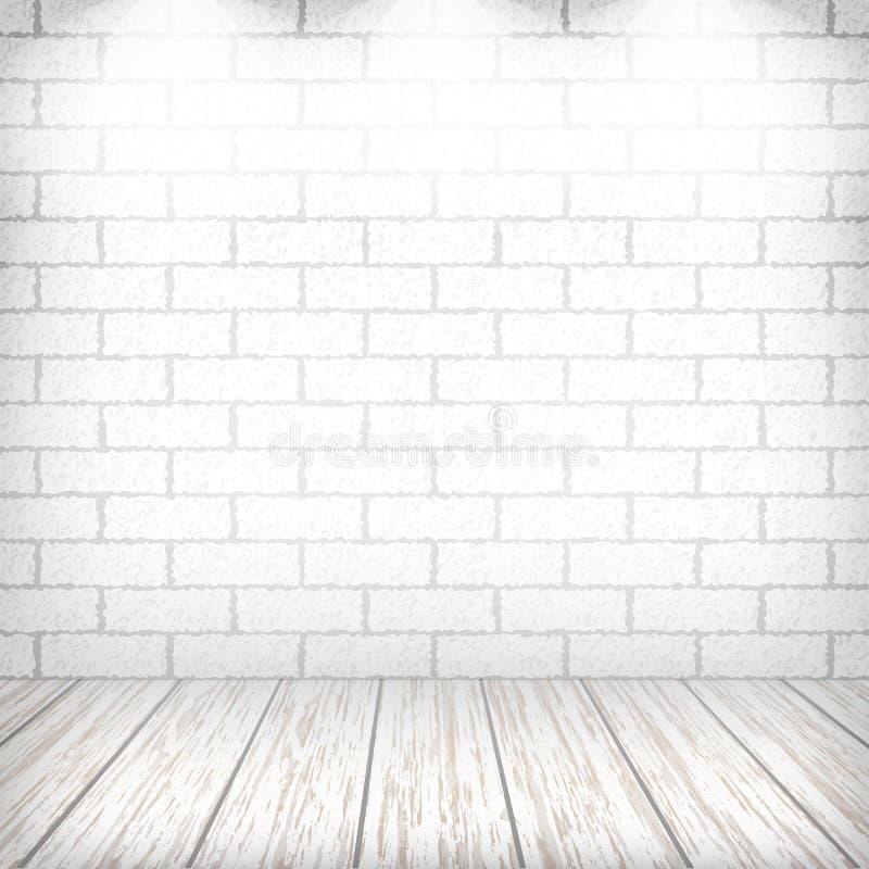 Pared de ladrillo blanca con el suelo de madera stock de ilustración