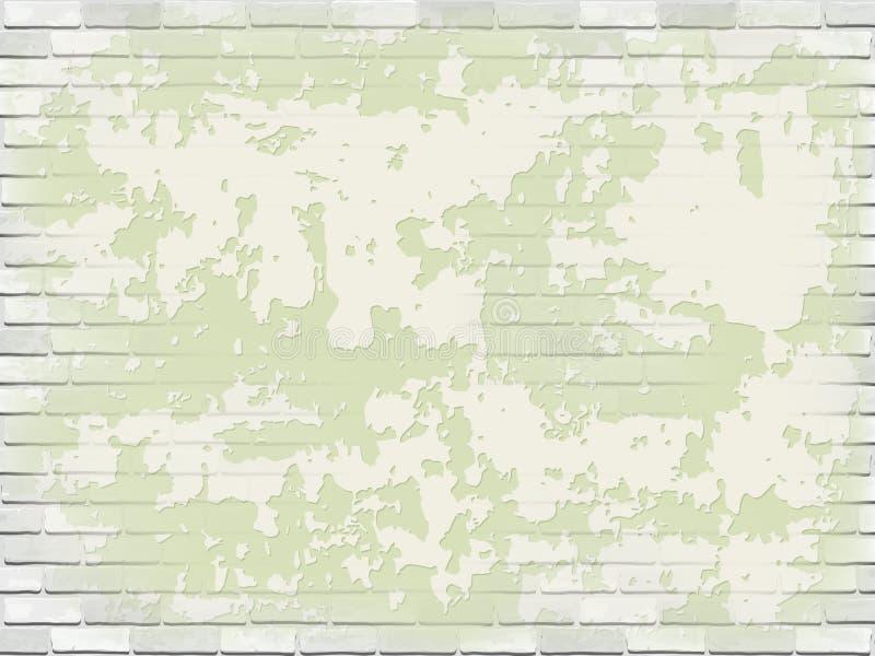 Pared de ladrillo blanca vieja con yeso verde de la peladura ilustración del vector