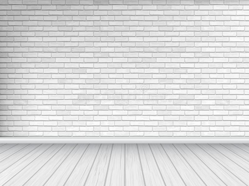 Pared de ladrillo blanca y fondo de madera del piso ilustración del vector