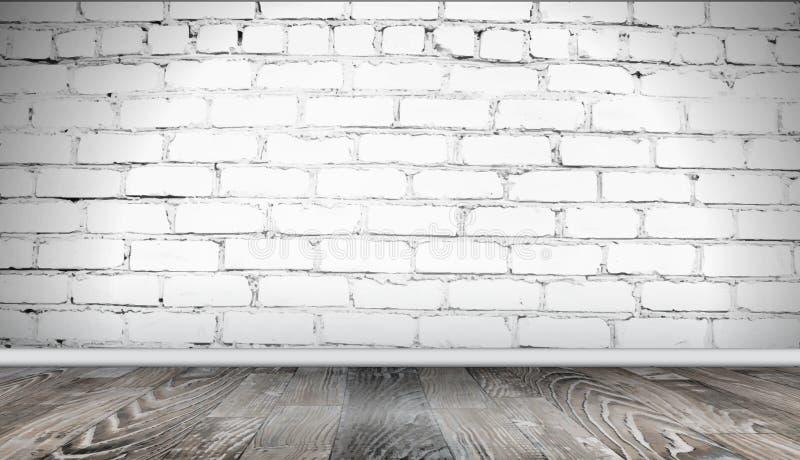 Pared de ladrillo blanca y fondo de madera del piso Textura realista del ladrillo viejo, modelo de semitono abstracto del grunge stock de ilustración