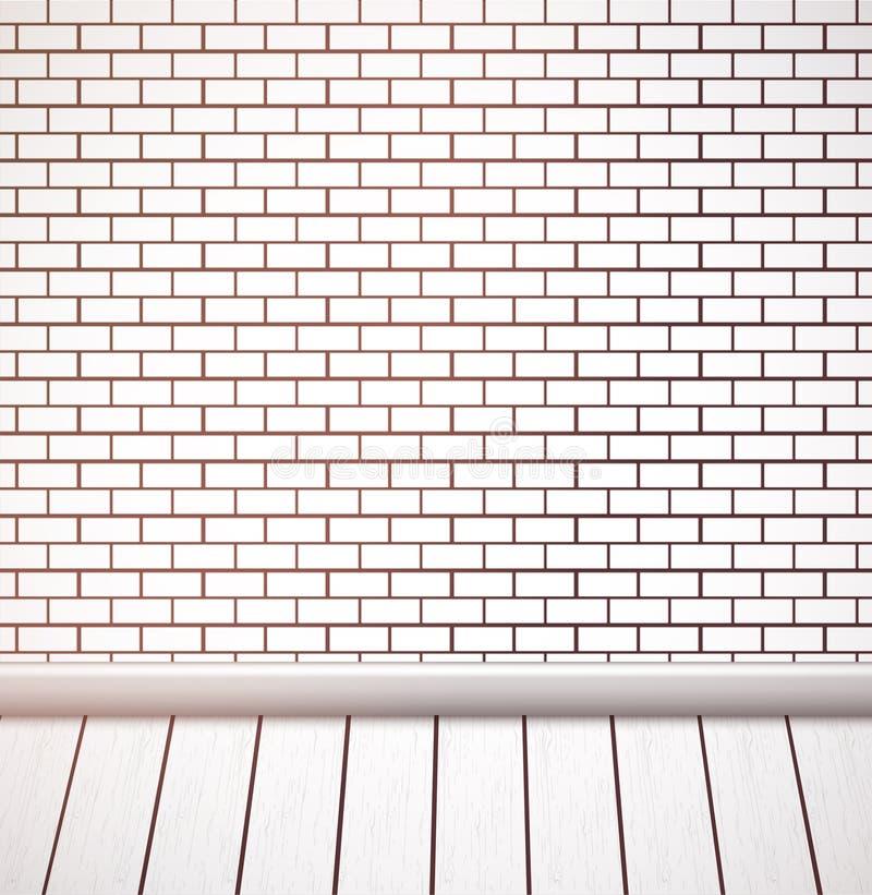 Pared de ladrillo blanca y piso de madera Interior vacío del vector ilustración del vector