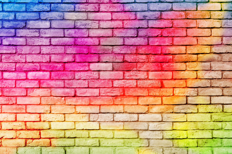 Pared de ladrillo colorida fotos de archivo