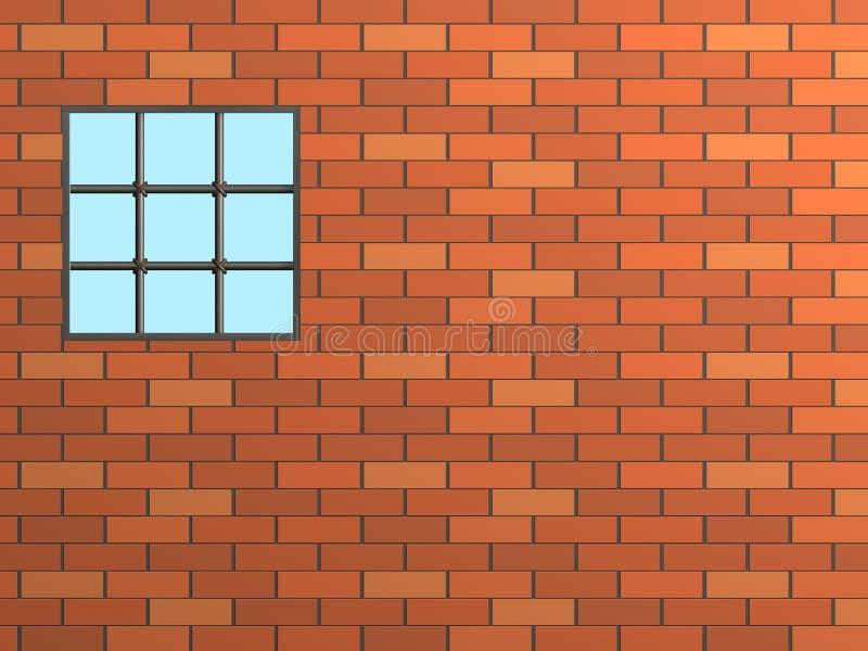 Pared de ladrillo con una ventana, cerrada por un cedazo libre illustration