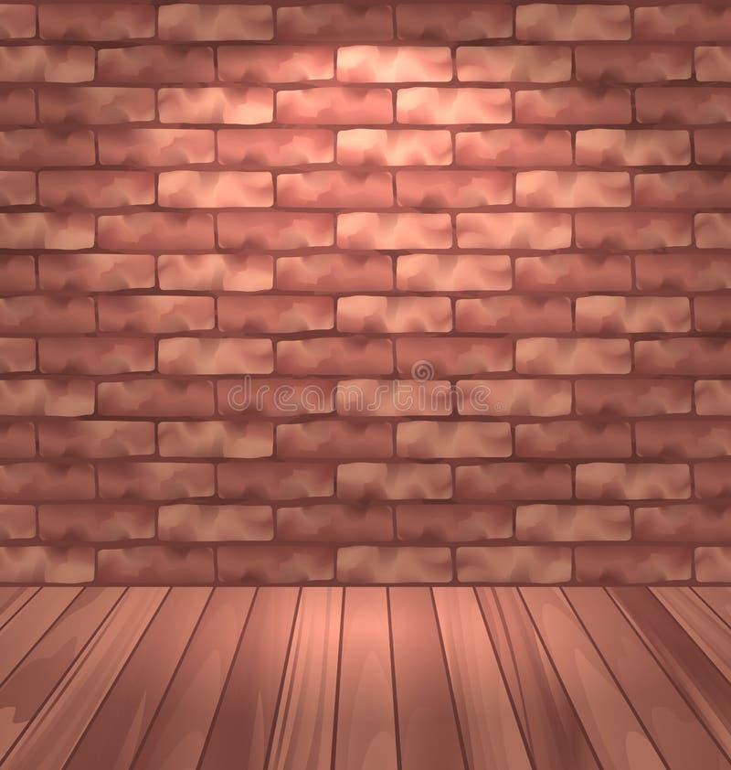 Pared de ladrillo de Brown con el piso de madera, interior vacío del sitio con el lig ilustración del vector