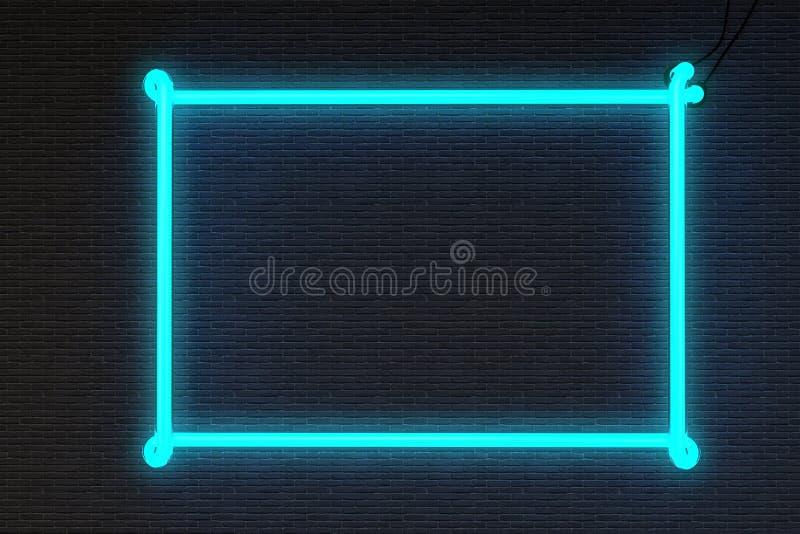 Pared de ladrillo de la señal de neón del marco fotos de archivo libres de regalías