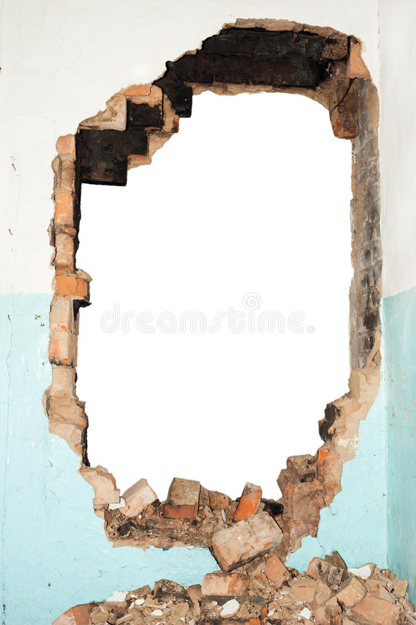 Pared de ladrillo del agujero foto de archivo
