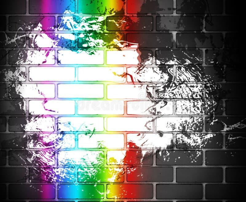 Pared de ladrillo del arco iris stock de ilustración