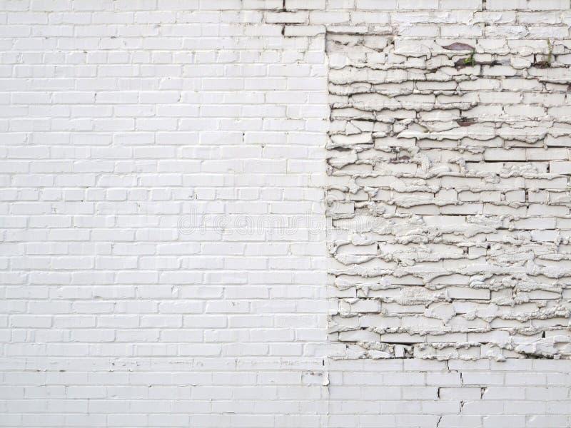 Pared de ladrillo del blanco del remiendo del Grunge imagenes de archivo
