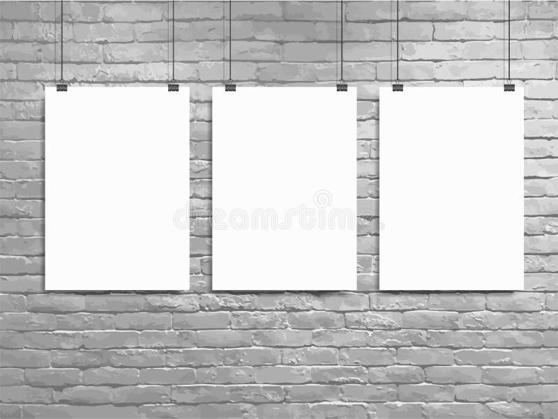 Pared de ladrillo del blanco de la maqueta del cartel del vector tres stock de ilustración