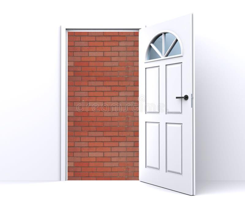 Pared de ladrillo detrás de la puerta abierta libre illustration