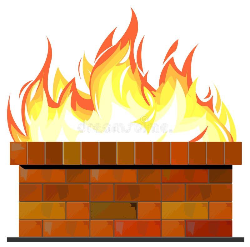 Pared de ladrillo en el fuego stock de ilustración