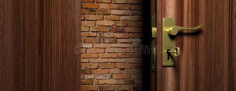 Pared de ladrillo fuera de una puerta de madera abierta con la manija de bronce y la llave, ejemplo 3d ilustración del vector
