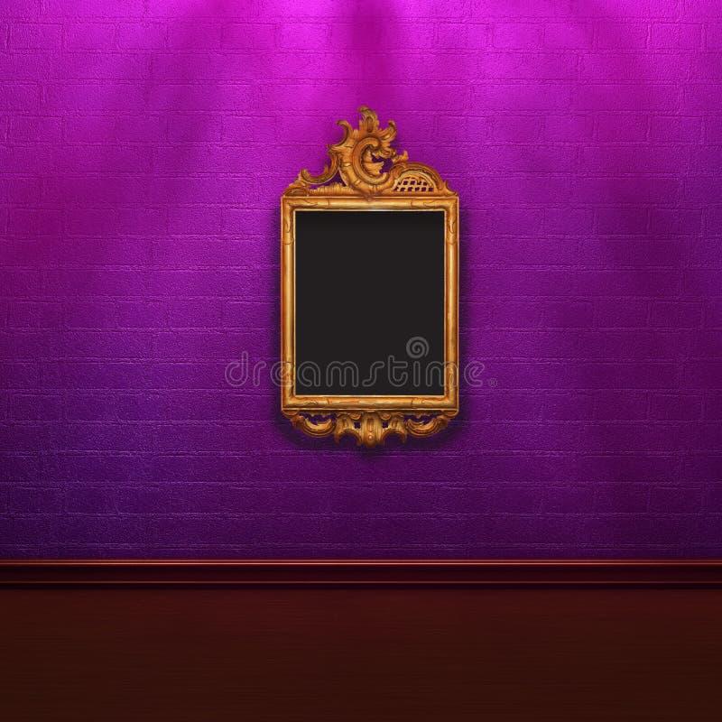 Pared de ladrillo púrpura en sombras con el marco elegante libre illustration
