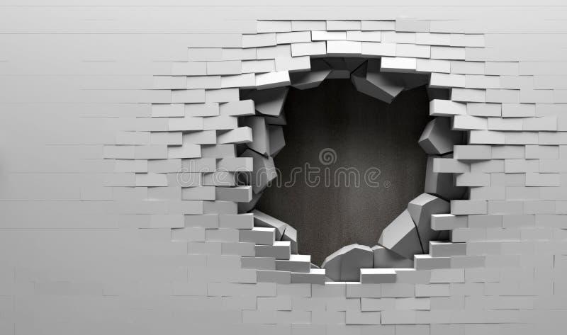Pared de ladrillo quebrada con detrás plateado de metal stock de ilustración