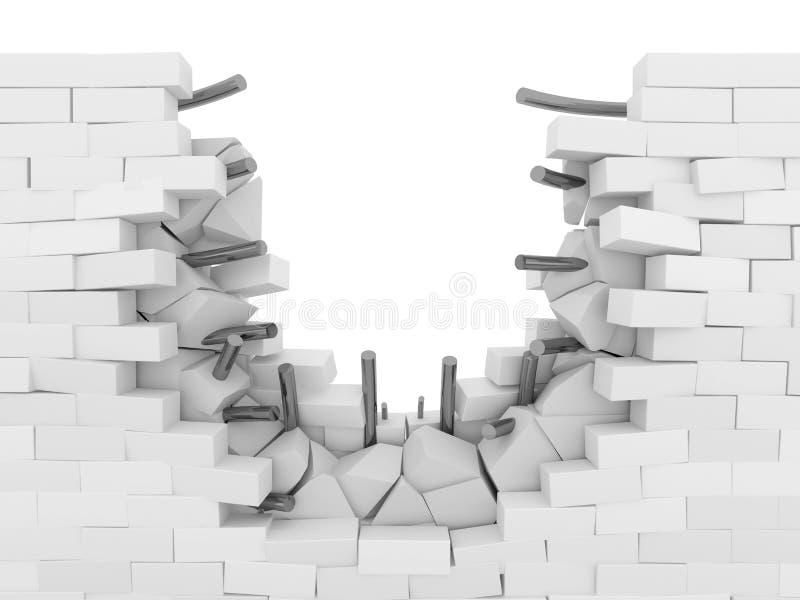 Pared de ladrillo quebrada con las barras de metal libre illustration