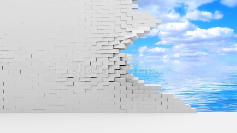Pared de ladrillo quebrada con las nubes hermosas detrás stock de ilustración