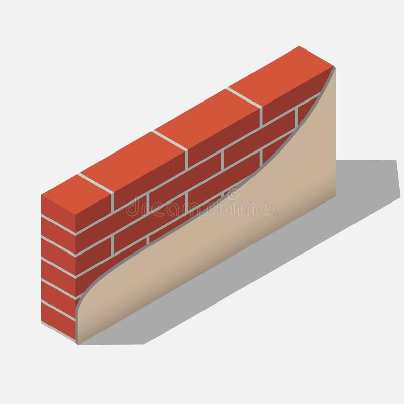 Pared de ladrillo roja ilustración del vector