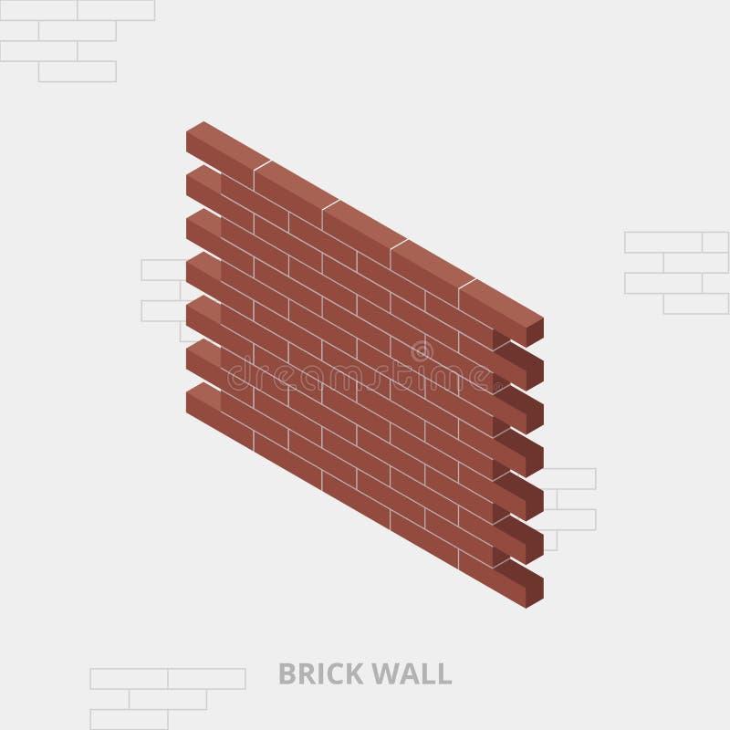 Pared de ladrillo roja isométrica, ejemplo del vector, visión 3D textura de la pared de ladrillo libre illustration