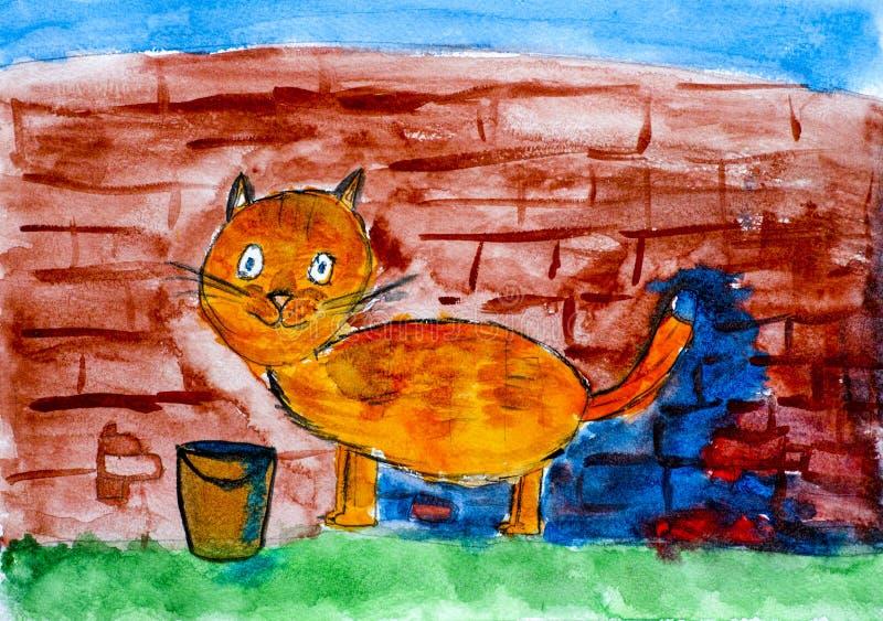 Pared de ladrillo roja de la pintura del gato por su cola Mano del watercolour del niño ilustración del vector