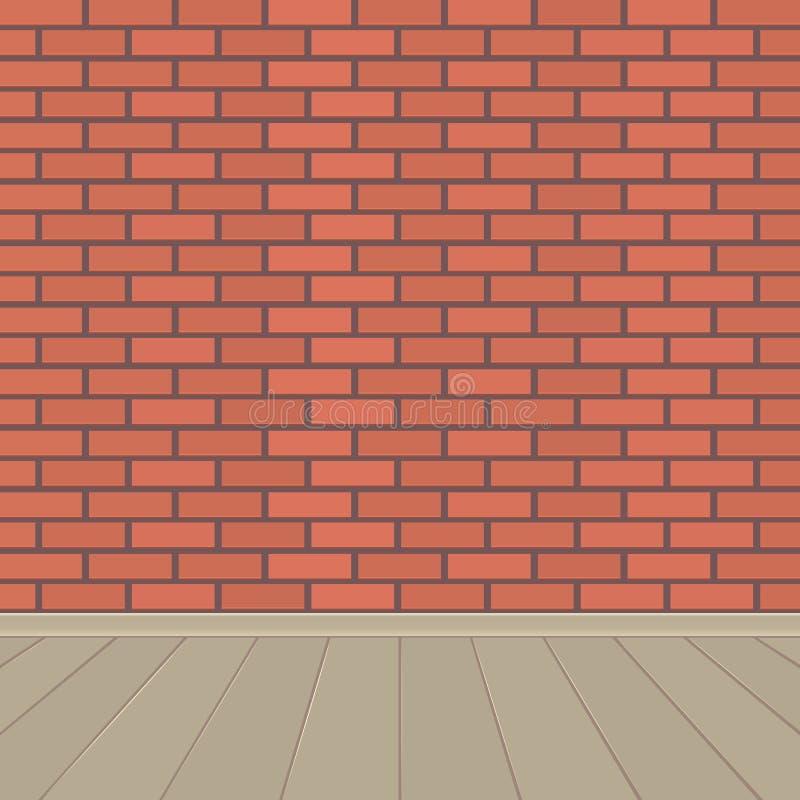 Pared de ladrillo roja y piso de madera stock de ilustración