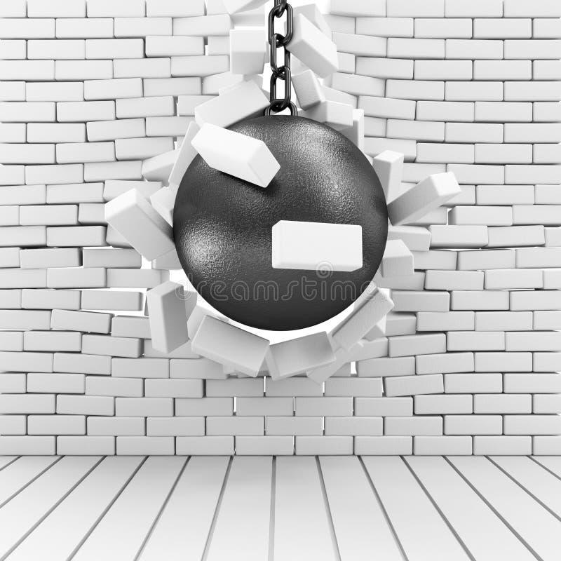 Pared de ladrillo rota arruinando la bola ilustración del vector