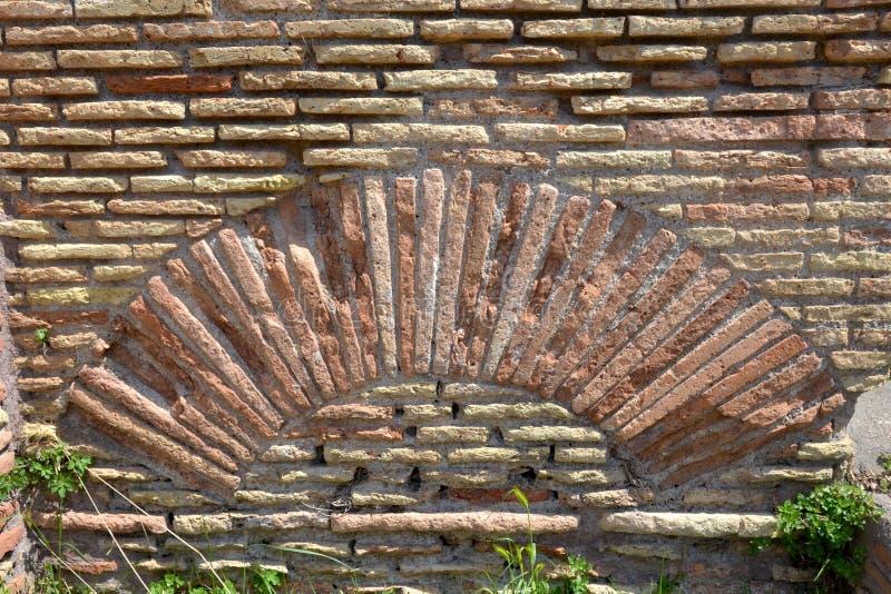 Pared de ladrillo vieja, Roma Italia foto de archivo