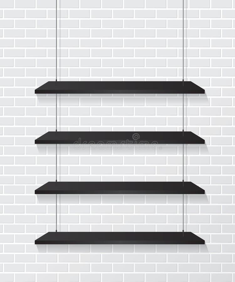 Pared de ladrillo y estantes negros stock de ilustración