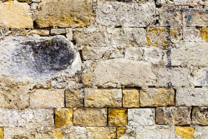 Pared de ladrillos superficial arruinada grunge gastado Material concreto fotografía de archivo libre de regalías